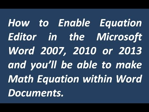 how to write equations in word 2013