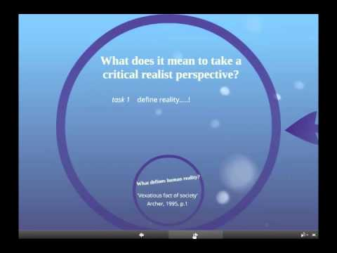 An Introduction to Critical Realism By Dr Sam Davis (Leeds Beckett University)