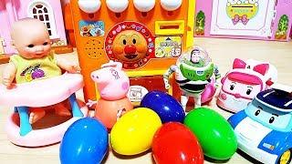 Peppa-Schweine Automaten-Getränk und robocar Poli Überraschung Eier Spielzeug spielen