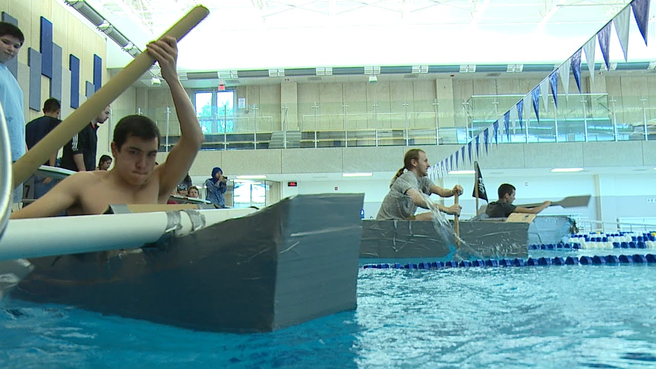College Of Dupage Engineering Club Cardboard Boat Relay Race Youtube