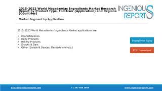 Global Macadamias Ingredients Market Forecast by Regions 2018-2023