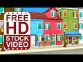 Free Stock Videos – colorful cartoon city buildings with animated cartoon charaters 3D