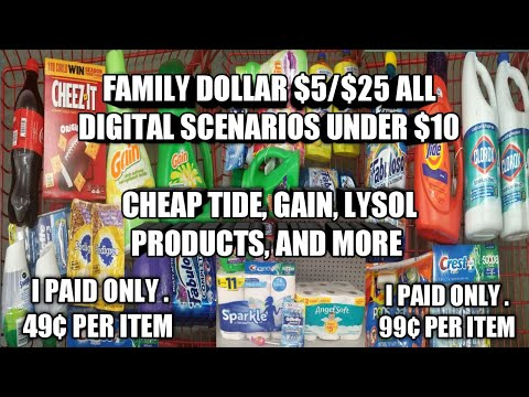 FAMILY DOLLAR $5/$25 ALL DIGITAL SCENARIOS UNDER $10| I PAID LESS THAN $1 PER ITEM