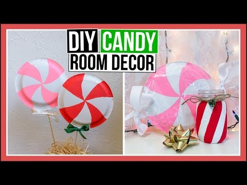 4 DIY Candy Room Decor Ideas | Candy Cane Mason Jar, Banner & DIY Paper Plate Candy