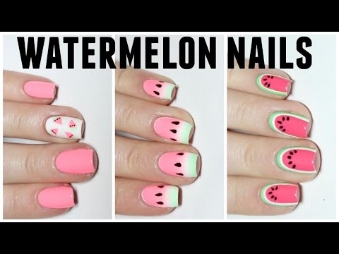 3 Easy Watermelon Nail Art Designs!