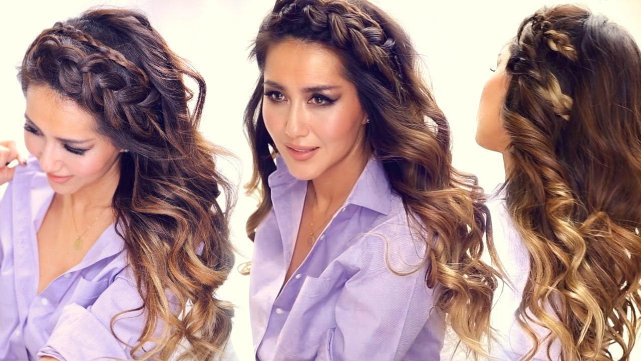 ★ 3 easy headband braid hairstyles & hsi curls | short medium long hair tutorial
