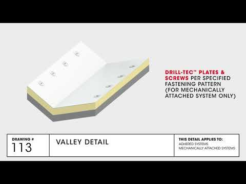 Valley Detail | TPO Commercial Roofing | GAF Drawing 113