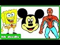 How To Draw Cartoons for Kids | Spiderman, Spongebob, Mickey, Pikachu Drawing Tutorial for Beginners