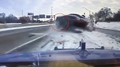 Watch how tow truck driver escapes this crash unscathed - BBC News