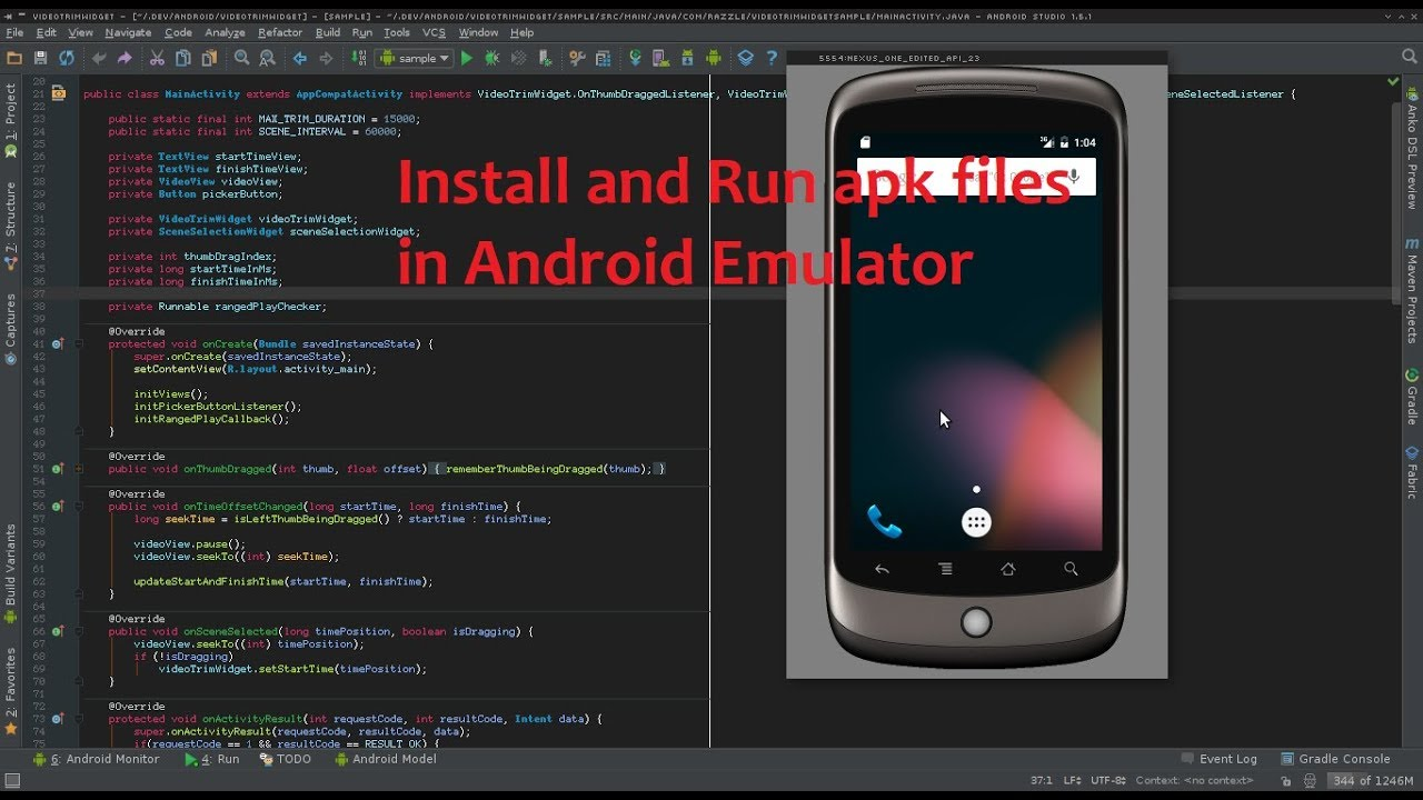 add apk file to android emulator