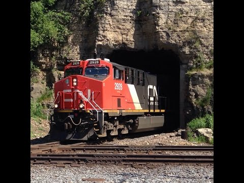 CN 2928 W with GT 4622 exiting E. Dubuque tunnel, 7.31.2015
