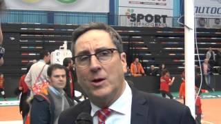 06-03-2016: #SuperLega - Exprivia Molfetta, Di Pinto dopo la vittoria su Piacenza