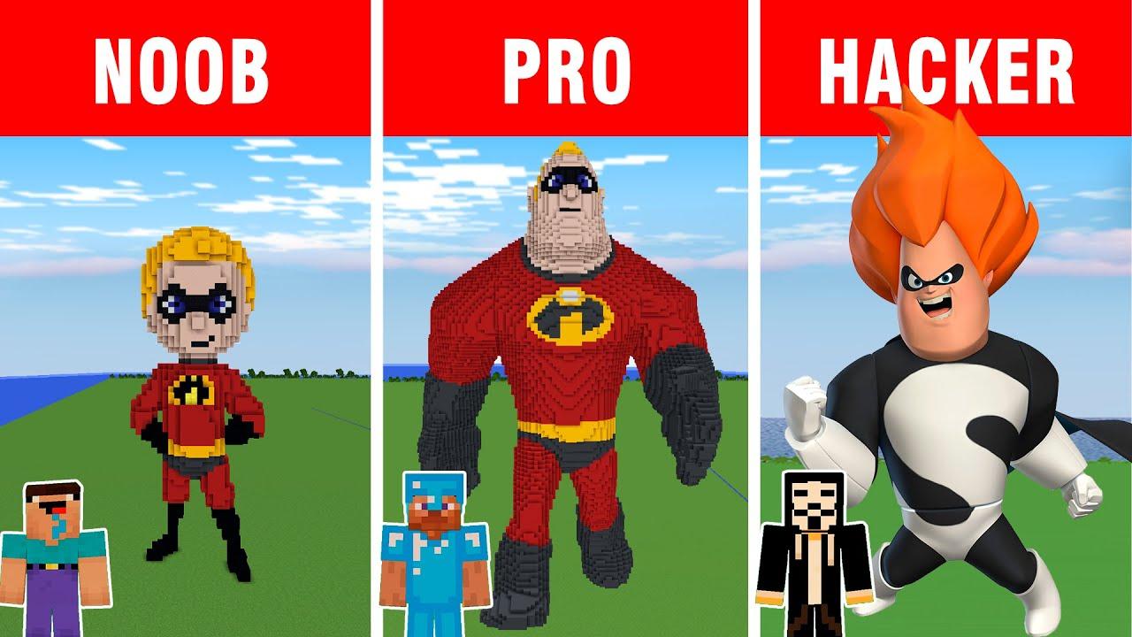Minecraft battle: NOOB vs PRO vs HACKER: THE INCREDIBLES BUILD CHALLENGE in Minecraft
