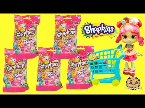 Thumbnail: 5 Shopkins Season 3 Collector Card Packs with Surprise Blind Bag with Donatina - Cookieswirlc
