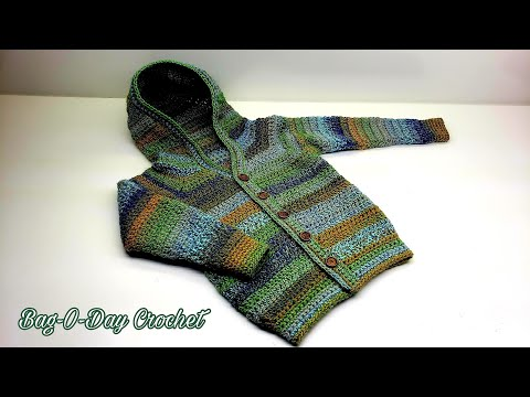 How To Crochet a Toddler Sweater | Boys – Girls Hooded Cardigan | BAGODAY CROCHET TUTORIAL #516
