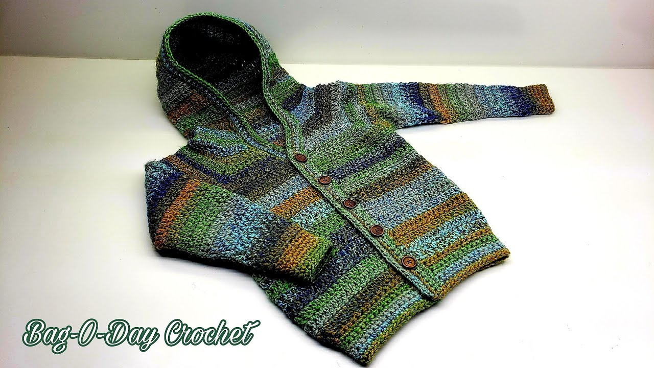 How To Crochet A Toddler Sweater Boys Girls Hooded Cardigan