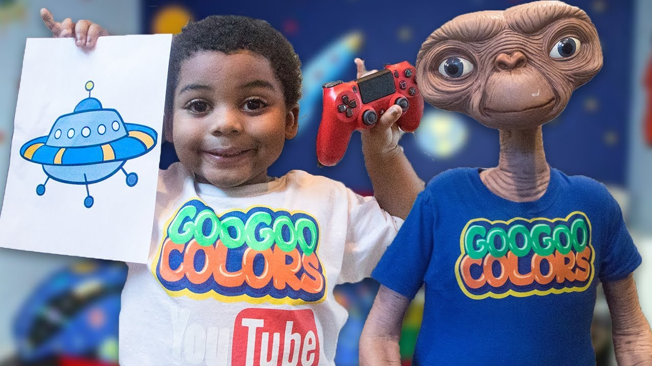 GOO GOO GAGA PLAYS VIDEO GAME WITH ALIEN FRIEND! Learn How to Spell Home
