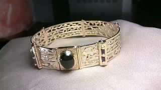 Bracelet 750 18 Karat Gold, Sapphires, Cobalt Tourmaline