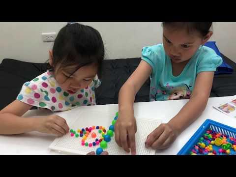 小朋友的鈕扣拼畫 creative mosaic 有296顆可以玩耶 姐姐妹妹來玩拼豆豆吧 親子樂園玩具開箱