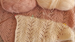 Кружевной узор спицами 🦚 Knitting lace pattern