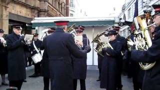 Salvation Army Marching Band outside Oxford Circus Tube station