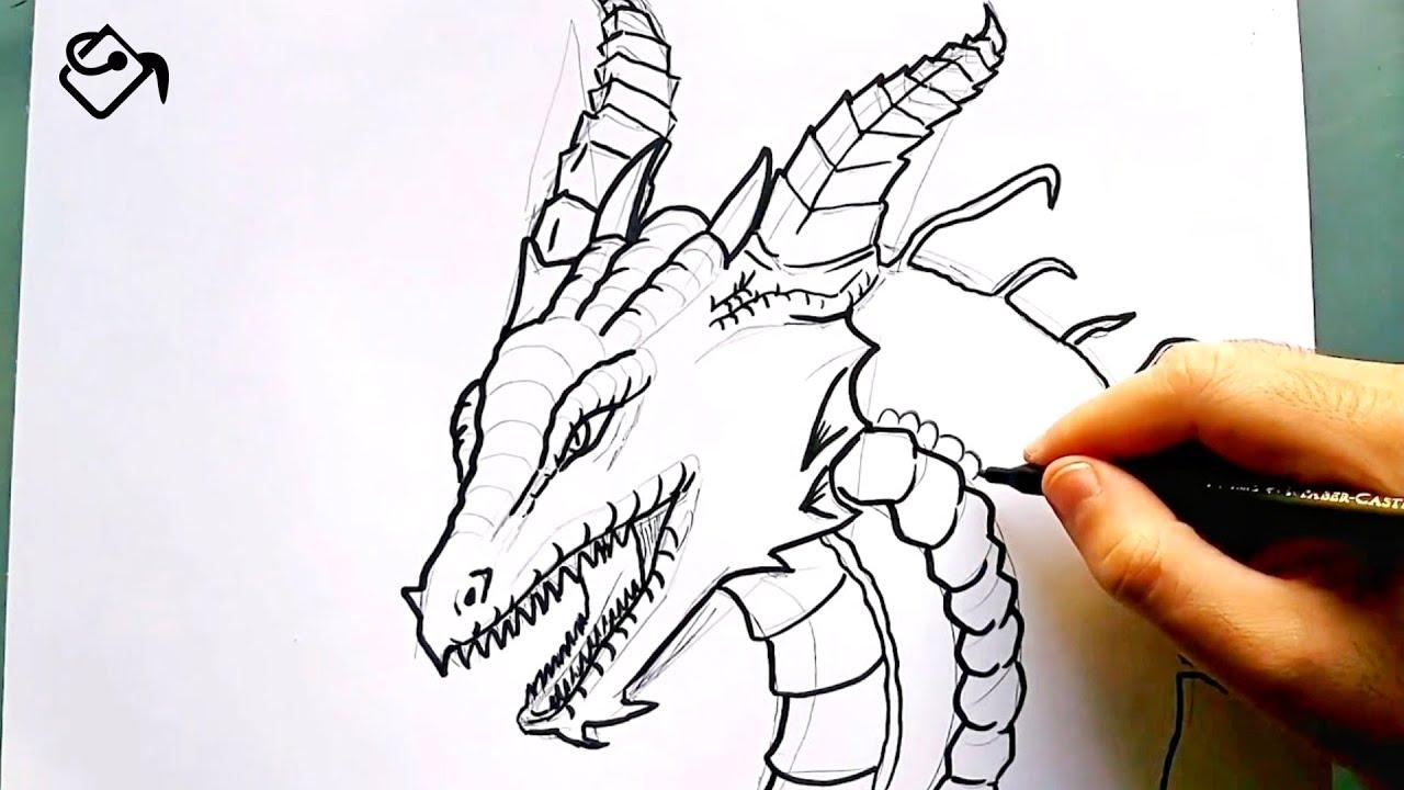 Comment Dessiner Une Tete De Dragon Apprendre A Dessiner Un Dragon Facile Pour Les Debutants Youtube