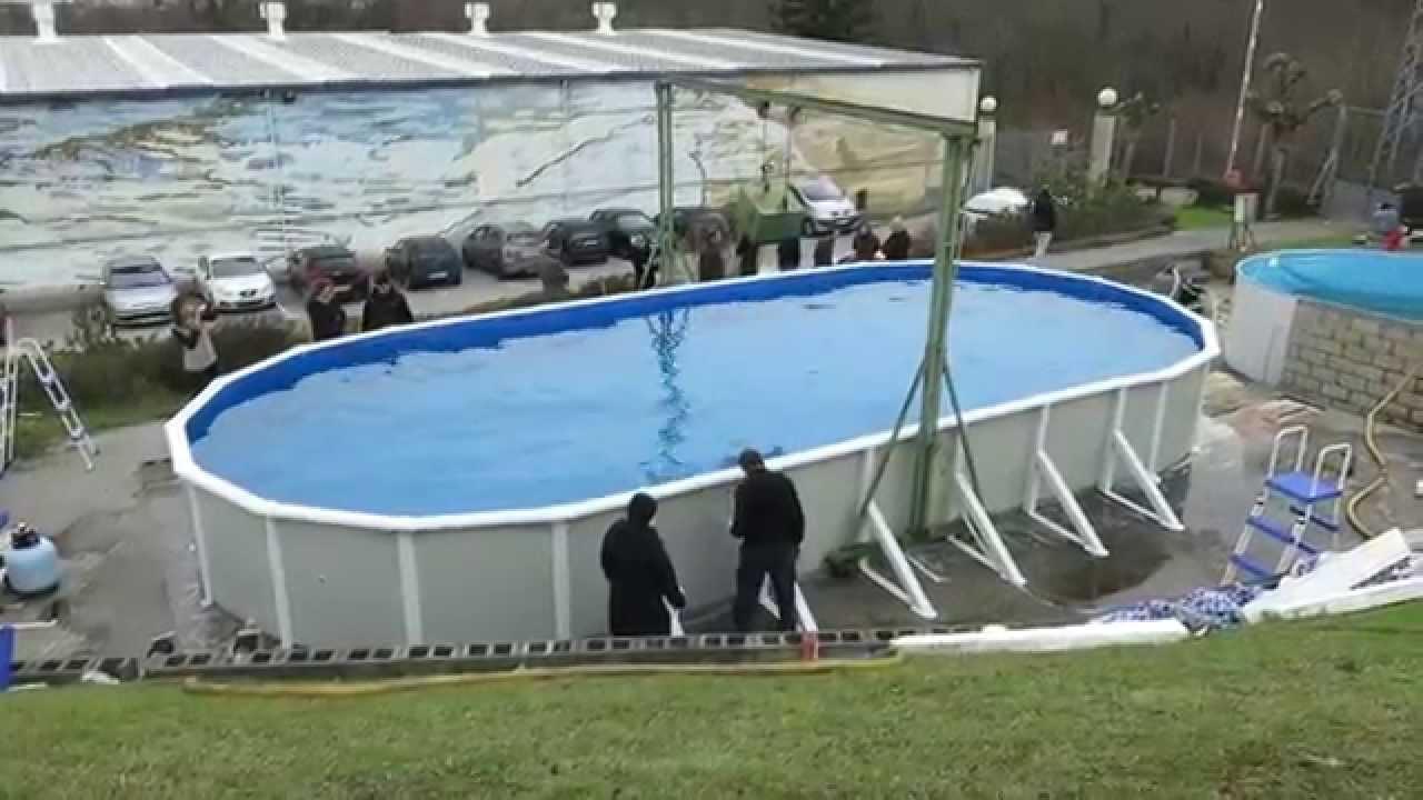 prueba de resistencia de una piscina gre de 12m de largo