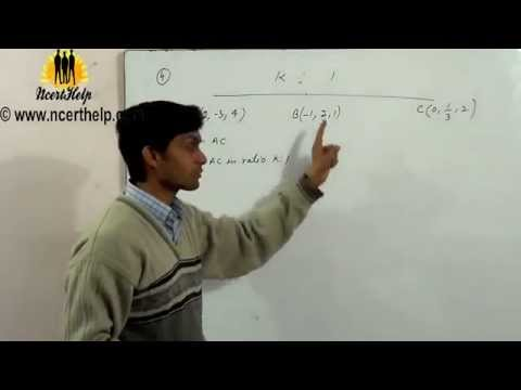 Using section formula show that the points A , B  and  are collinear.