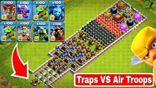 Who Can Survive This Difficult Trap on COC? Trap VS Air Troops #2