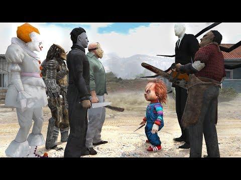Jason Voorhees vs Pennywise vs Slender Man vs  Predator vs Chucky vs Michael Myers vs Leatherface