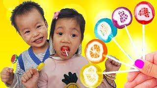 Colors Song, Van and Nam Pretend Play With Fruit Lollipop, BaBiBum