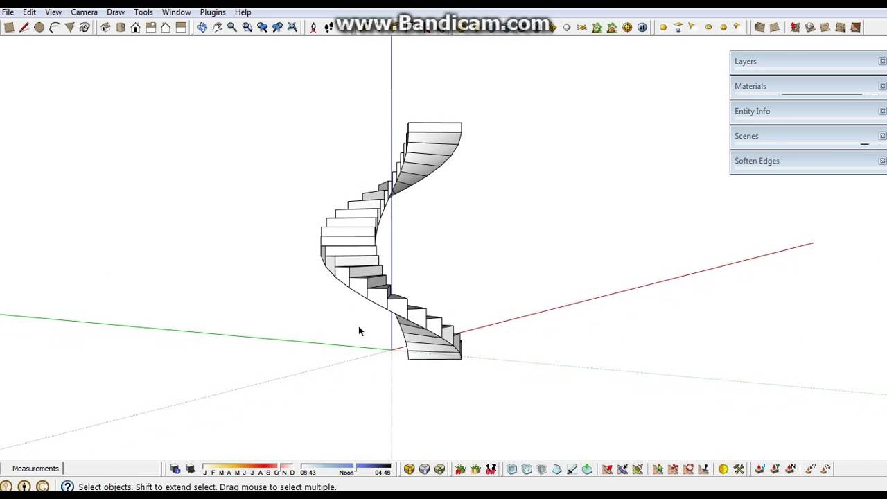 Simple way to create spiral stair with sketchup without plugin