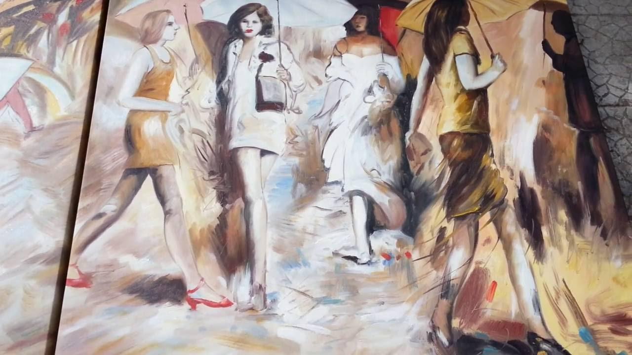 Quadri moderni design dipinti a mano su tela a olio stile di vita quotidiano persone e ombrelli - Ikea quadri su tela ...