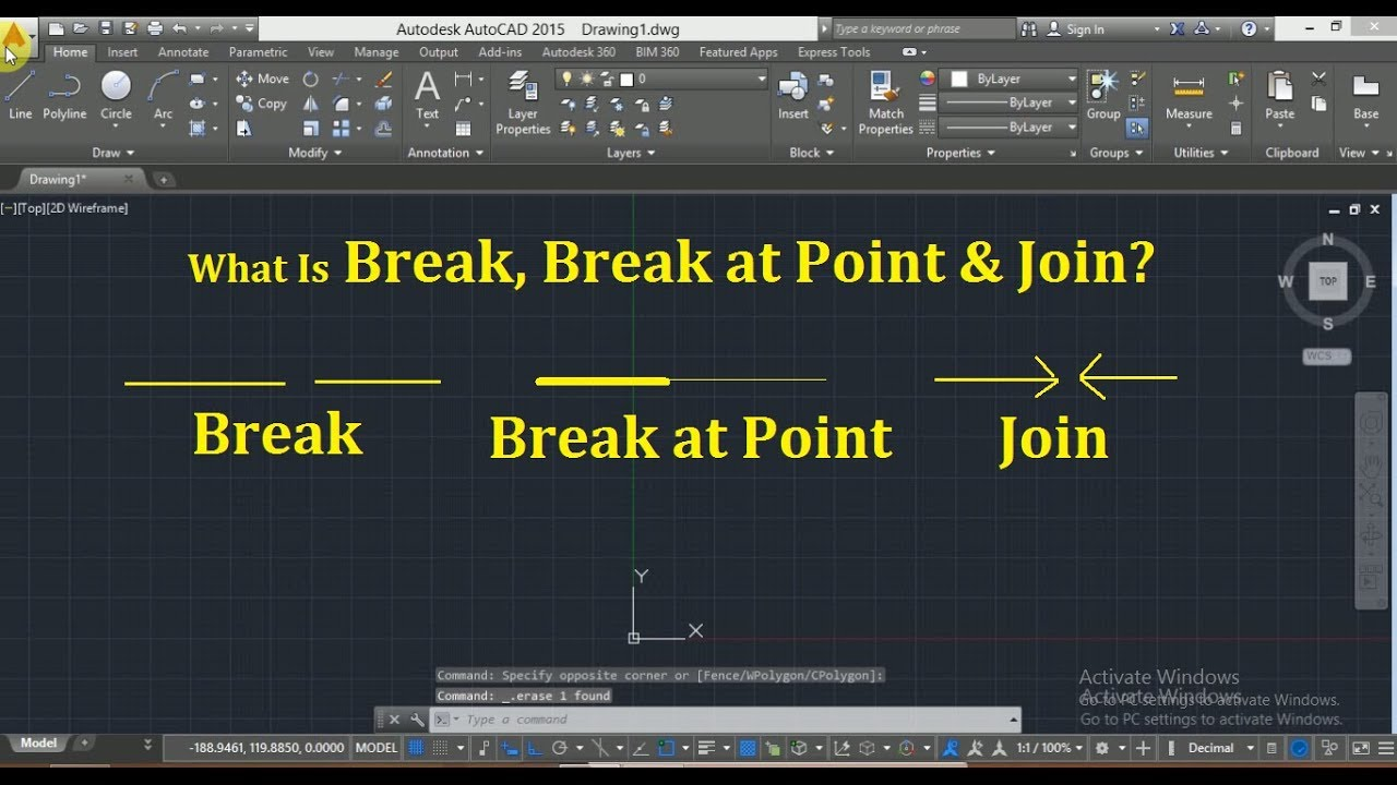 What is Break, Break at Point & Join in AutoCAD Hindi tutorial 20