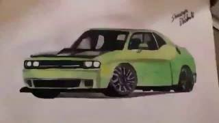 How to draw a car : dodge challenger , by Shaurya Dhakate .