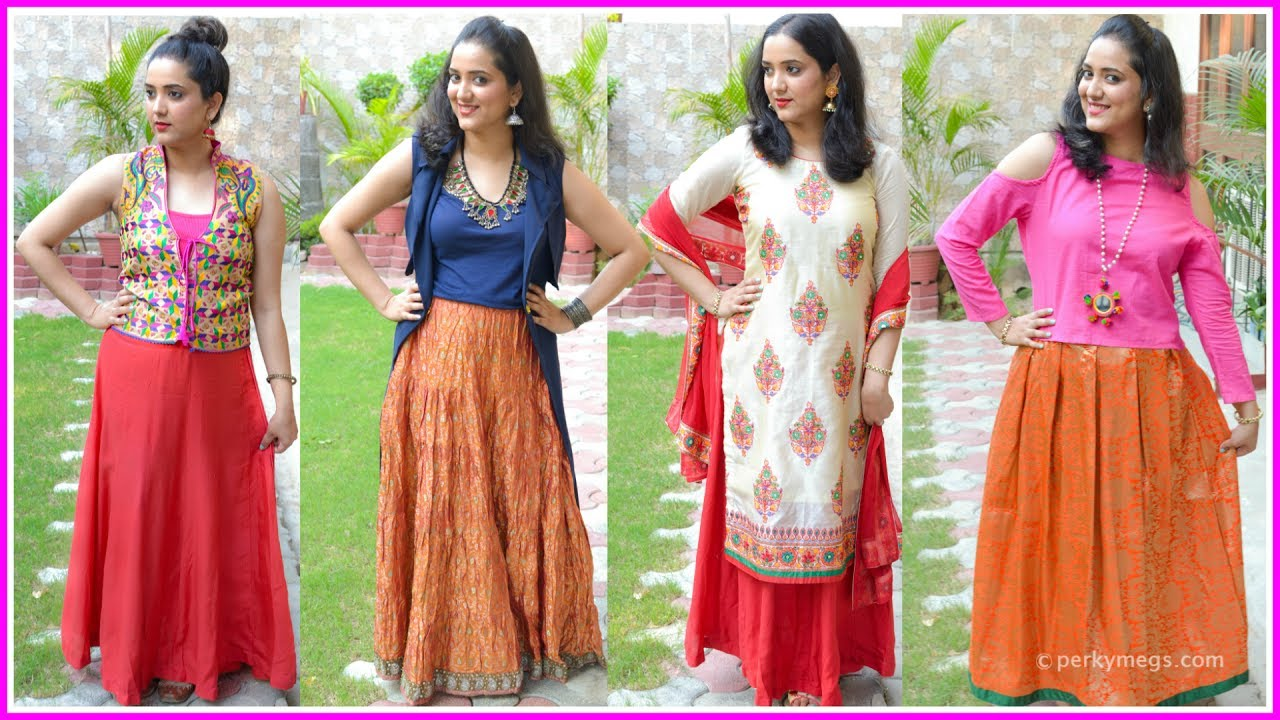 776bbc3149 How to Style Ethnic Skirts | Indian Ethnic Wear | Perkymegs - YouTube