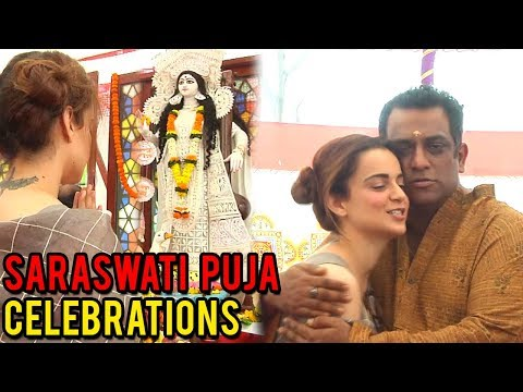Kangana Ranaut Prays At Anurag Basu's Saraswati Puja