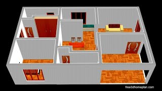 Small House Design Plan 10 X 12m 2 Bedroom With American Kitchen 2020