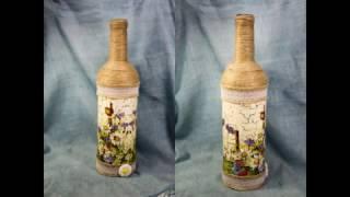 Декупаж для начинающих #34 Декпаж бутылки - одношаговый кракелюр на ПВА на стекле в стиле кантри