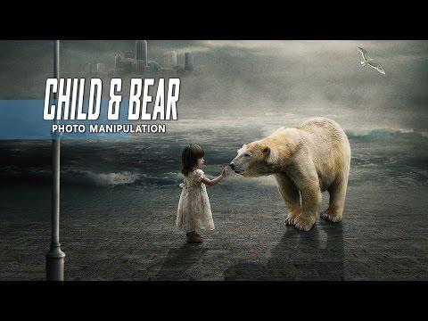 Child & White Bear - Photoshop Manipulation Tutorial Compositing