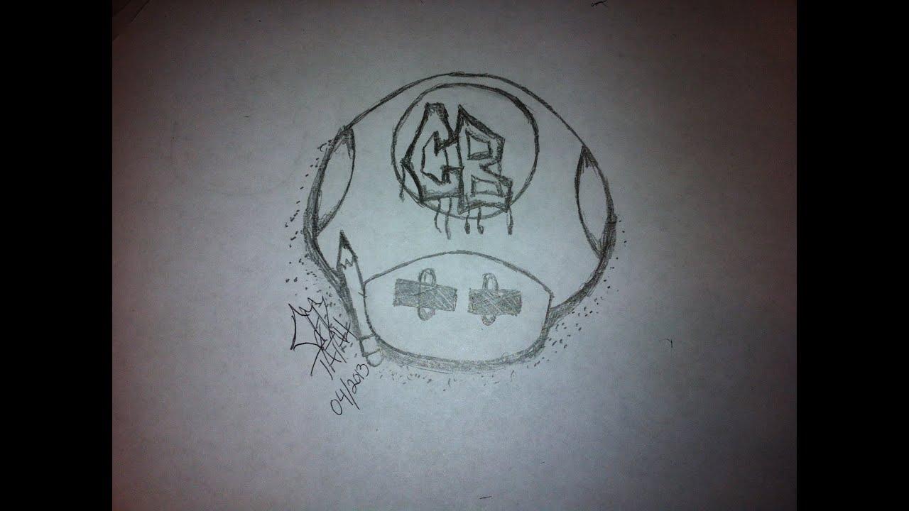 Super Mario Bros Mushroom Cartoon Block Custom Drawing By Ced Tatau