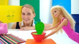 Поделки для Барби своими руками. Кактус из цветной бумаги