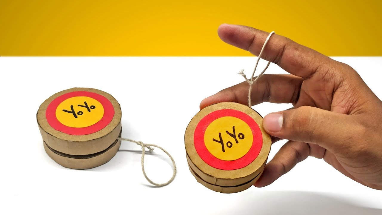 How To Make Yoyo From Cardboard Diy At Home Youtube
