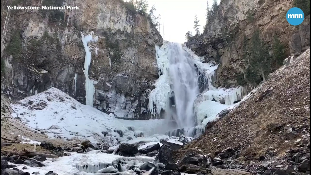 Osprey Falls At Yellowstone National Park Is Starting To Freeze For The Winter