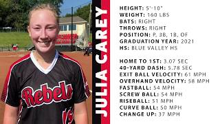 2021 Julia Carey Pitcher Corner Infielder Outfielder Softball Skills Video