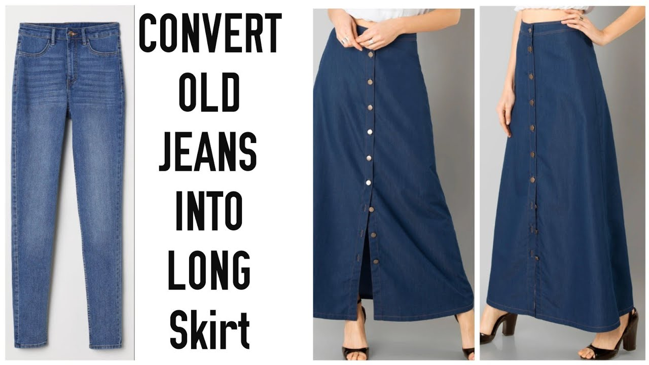 6d56884278 DIY CONVERT OLD JEANS INTO LONG SKIRT IN 10 MINUTES~ - YouTube