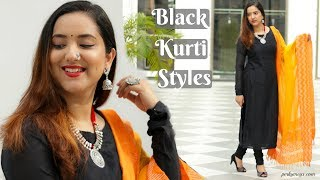 How to style a Black kurti in different ways | Indian Ethnic Wear Basics | Perkymegs