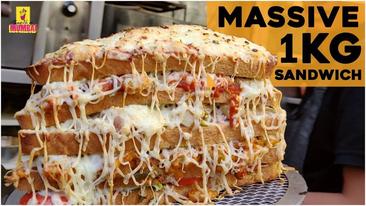 Download 1Kg Hulk Sandwich, Om Snacks Mumbai   India's biggest 5 Layered Cheese Sandwich   Indian Street Food
