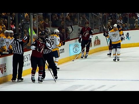 Ref nails Ekman-Larsson with flying elbow after giving him penalty