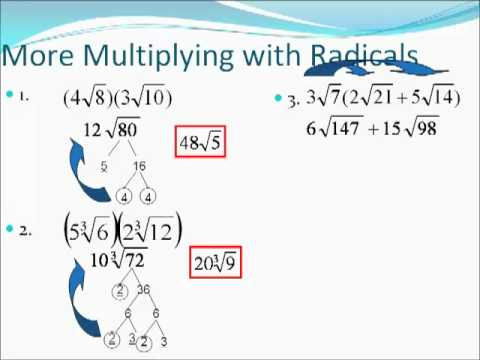 Algebra 2 Simplifying Radical Expressions - Non Perfect Roots